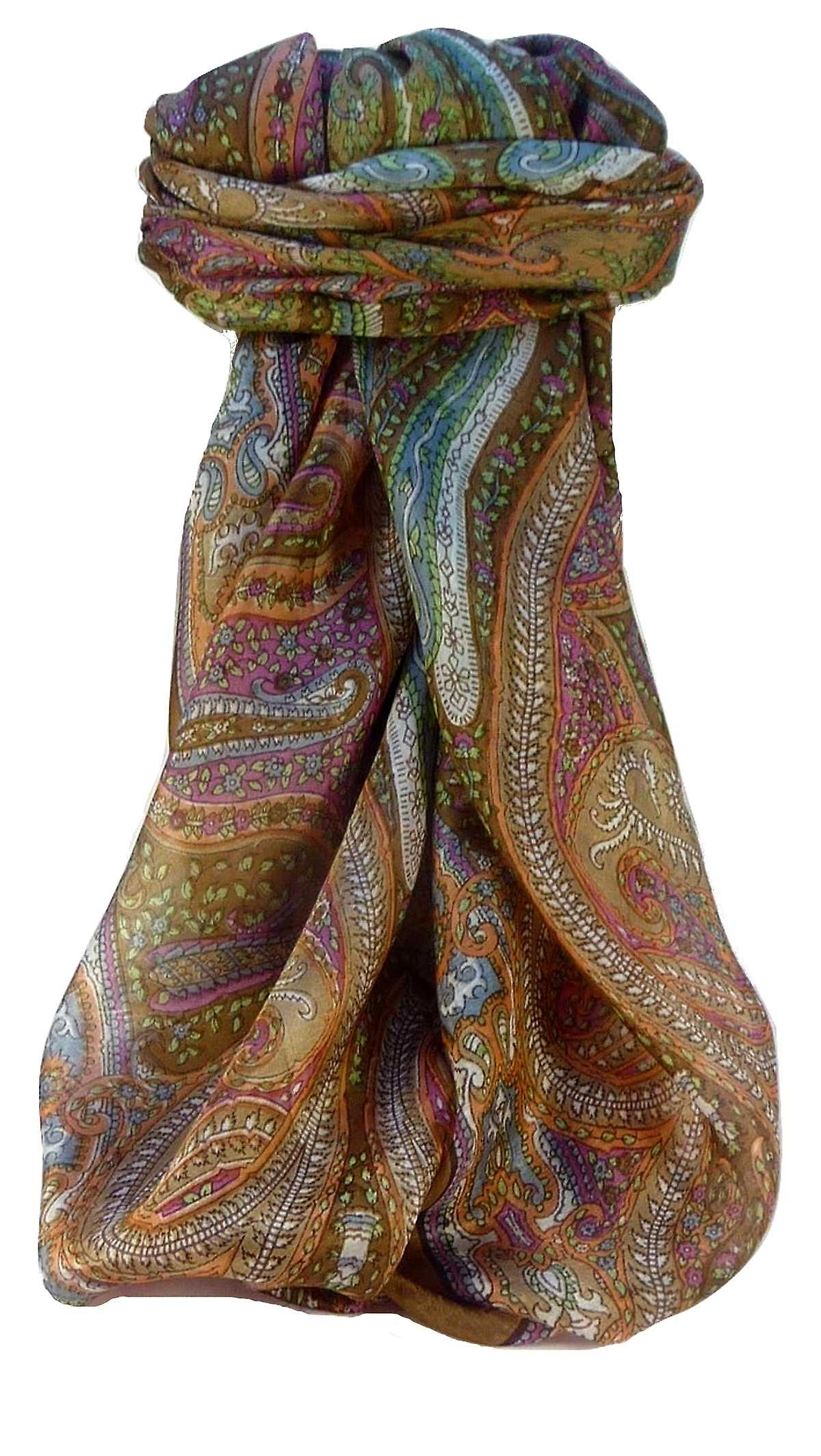 Mulberry Silk Traditional Square Scarf Vayvia Coffee by Pashmina & Silk