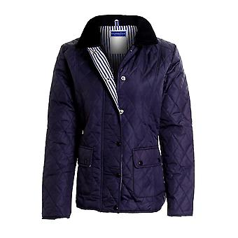 New Ladies Quilted Padded Button Zip Jacket Women's Coat