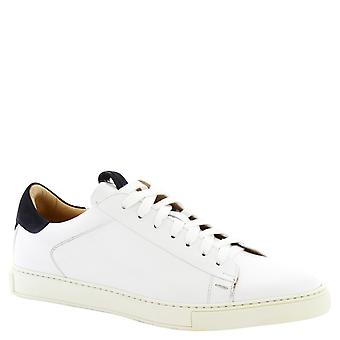 Leonardo Shoes men's handmade sneakers in white calf leather and rubber sole