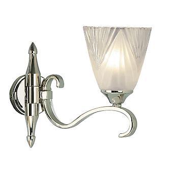 Solo Colombia luz lámpara de pared de níquel con Deco vidrio cortina - interiores 63456 1900