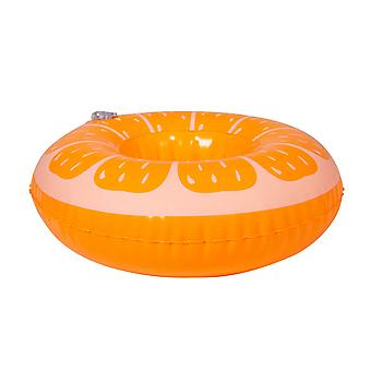Beverage holder inflatable orange 17x17 cm pool party drinkholder cocktail holder