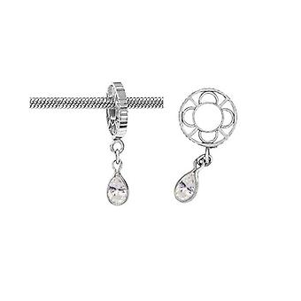 Storywheels Silver With White Topaz Dangle Charm S012WT