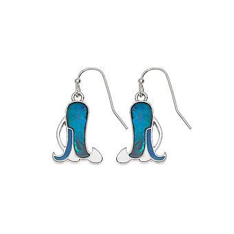 Eeuwige collectie Bluebell Paua Shell zilver Toon Drop doorstoken oorbellen