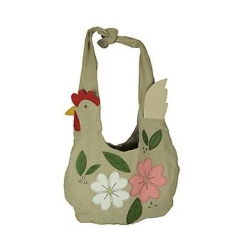 Beige Canvas Floral Huhn Hobo Tasche