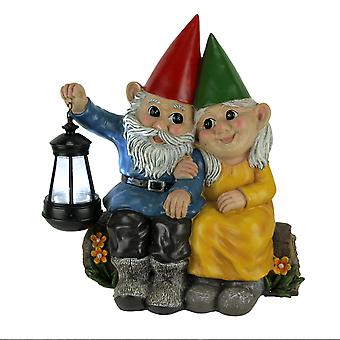 Light of Our Love Gnome Couple Sitting On Log Solar Lantern Statue