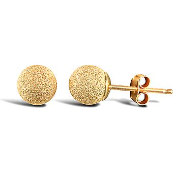 Jewelco London Ladies 9ct Yellow Gold Frosted Ball Bead Stud Earrings, 5mm