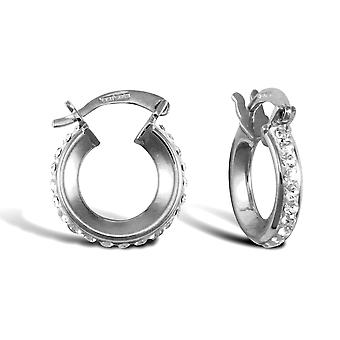 Jewelco London Ladies 9ct White Gold White Round Crystal Eternity 3mm Boucles d'oreilles Hoop 13mm