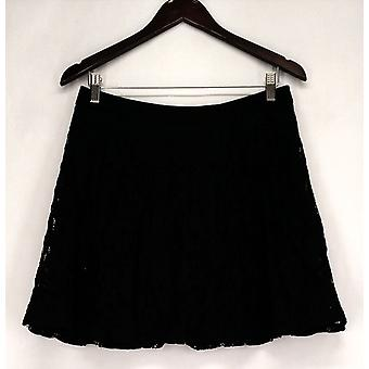 As U Wish Skirt Lace Overlay Zipper Back Solid Waist Black Womens