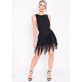 Tulle High Waisted Tiered Mini Jupe Noire