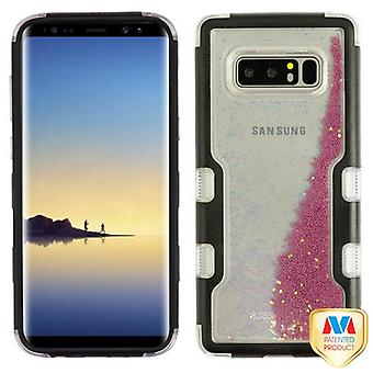 MYBAT Natural Black/Purple Beads TUFF Quicksand Glitter Hybrid Protector Cover for Galaxy Note 8
