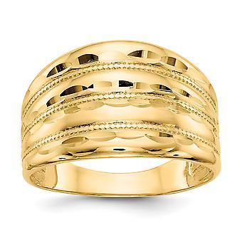 14k Amarelo Ouro Polonês Brilho cortado Four Ridge Fashion Dome Ring Joias Joias para Mulheres