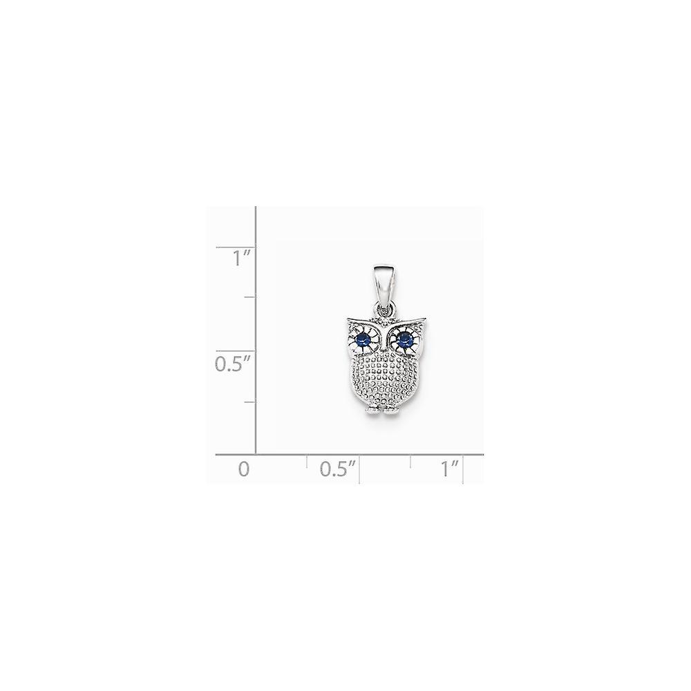 925 Sterling Silber mit blauen synthetischen Saphir Eule Anhänger Halskette Schmuck Geschenke für Frauen