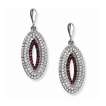 925 Sterling Argento Rhodium-plated e Cubic zercconia brillante braci Dangle Post orecchini