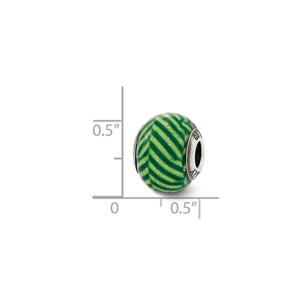 925 Sterling Silver Polished finish Reflections Italian Green Stripes With Glitter Glass Bead Charm Pendant Necklace Jew