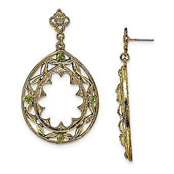 Surgical steel post Brass tone Green Crystal Teardrop Post Dangle Earrings Jewelry Gifts for Women