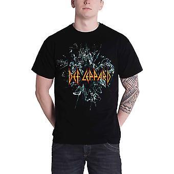 Def Leppard T Shirt Shattered Glass band logo Official Mens Black