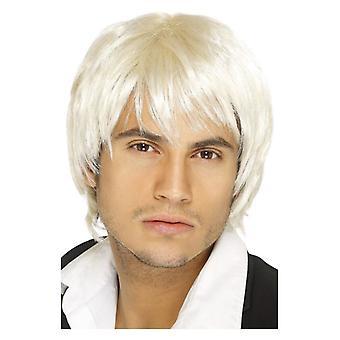 Miesten White Boy Band peruukki naamiaispuku lisävaruste