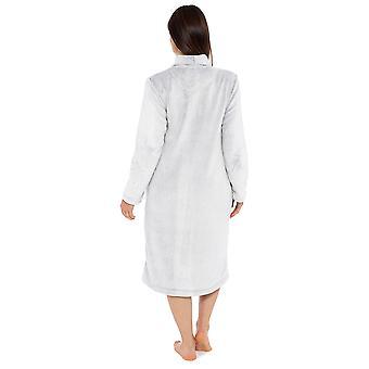 Senhoras Zip Frente Shimmer Design Fleece Nightwear Roupão de Roupão