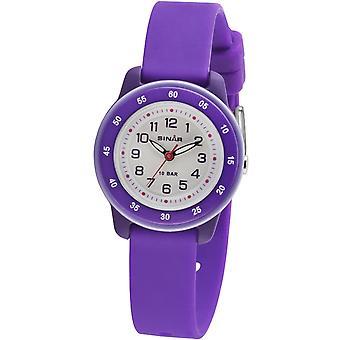 SINAR mládež Sledujte deti náramkové hodinky Analog Quartz silikónová stuha XB-22-7 fialová