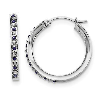 925 Sterling Silver Polished Gift Boxed Gemstone accent and Platinum plated Dia. and Sapphire Round Hinged Hoop Earrings