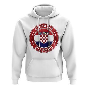 Kroatia fotball Badge hettegenser (hvit)