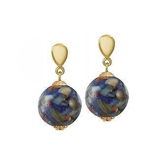 Eeuwige collectie Madreperla Blue moeder van de parel Shell Gold Tone Drop Clip op oorbellen