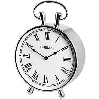 Hill Interiors Traditional Chrome Metal Mantel Clock