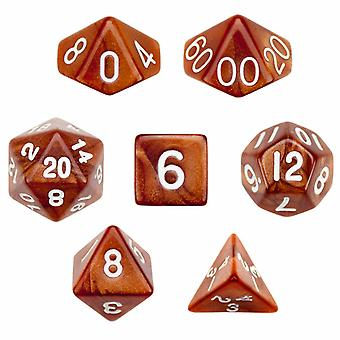7 Die Polyhedral Dice Set in Velvet Pouch - Copper Sands