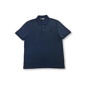 Versace Collection knitted polo in blue/navy check