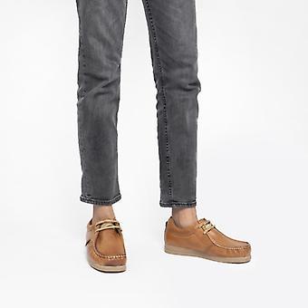 قاعدة لندن العاصفة Mens جلد موكاسين أحذية تان