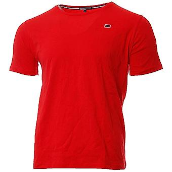 Tommy Hilfiger Rubber Flag Logo Crew Neck T-Shirt, Flame Scarlet, Small