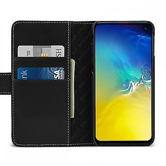 Case For Samsung Galaxy S10e Black Nappa Card Holder In True Leather