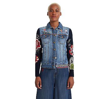 Desigual Women's Exotische klassische Blumenstickerei blau Denim Jacke