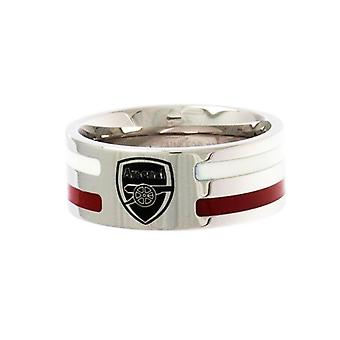 Arsenal FC Official Colour Stripe Football Crest Ring