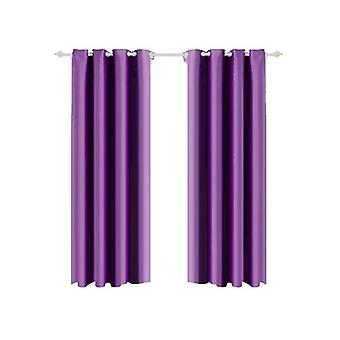 2 Pcs Blockout Curtains With 3 Layers In Purple Colour