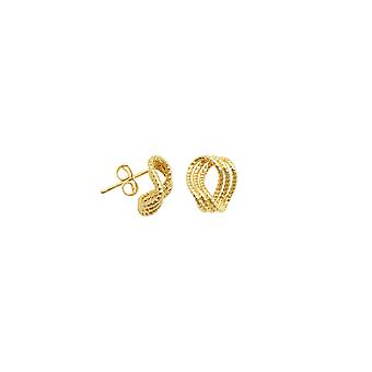 10k Yellow Gold Sparkle Cut Triple Open Infinity Post Earrings Jewelry Gifts for Women - 1.3 Grams