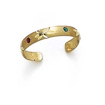 14k Yellow Gold Enamel Toe Ring Jewelry Gifts for Women - .7 Grams