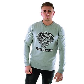 Ed Hardy   Love Ed Crew Tiger Sweat Top - Grey
