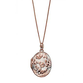 Joshua James Serenity Silver med Rose Gold Plätering Rose Bush Medaljong