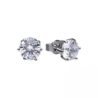 Diamonfire Silver & White Zirconia Claw Set 3ct Solitaire Stud Earrings