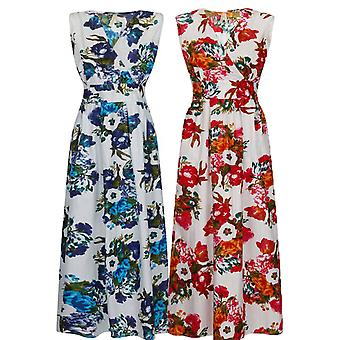 Pistachio Women's Garden Floral Print Cotton Maxi Dress