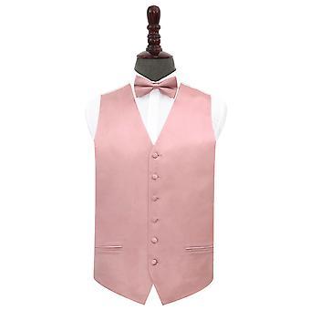 Dusty Pink Plain Satin Wedding Waistcoat et Ensemble Bow Tie