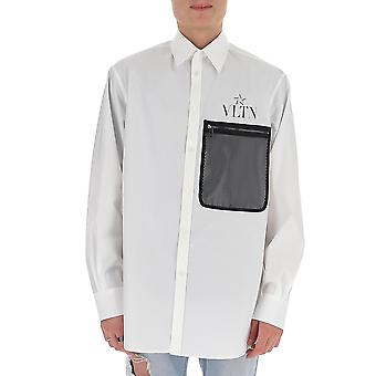 Valentino Tv3abd655u6a01 Hombres's Camisa de algodón blanco