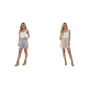 Indigo Roc Womens/Ladies Stripe Paperbag Waist Shorts