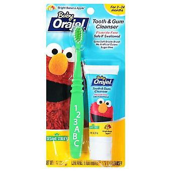 Orajel baby tooth & gum cleanser, bright banana apple, 1 set