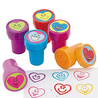 24 Smiley Heart Self Inking Stampers voor Kids Crafts & Party Bags