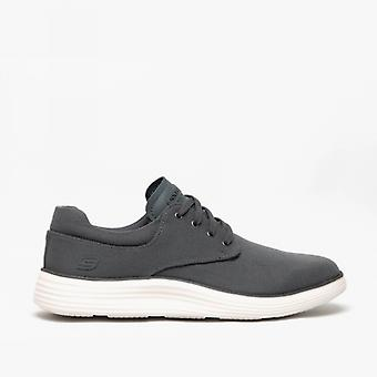 Skechers Status 2.0 Burbank Mens Canvas Casual Trainers Charcoal