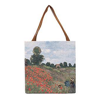 Monet - poppy field shopper gusset bag by signare tapestry / guss-art-cm-popfl