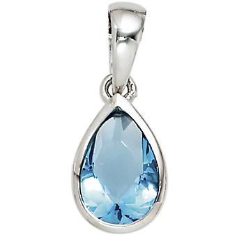 Ladies pendant drop 925 sterling silver rhodium-plated 1 cubic zirconia blue