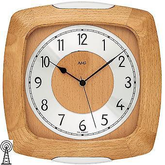 AMS 5804/18 wall clock radio radio controlled wall clock analog wood beech solid with glass